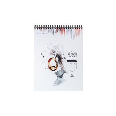 Скетчбук для маркеров Малевичъ Sketch 19х24 см 80 листов на спирали