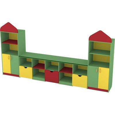 Стеллаж детский Замок (разноцветный, 3120x419x1580 мм)