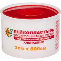 Лейкопластырь Leiko plaster 3 см x 5 м на тканевой основе в пластиковом футляре
