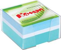 Блок для записей Комус 90x90x50 мм разноцветный в боксе  (плотность 80 г/кв.м)