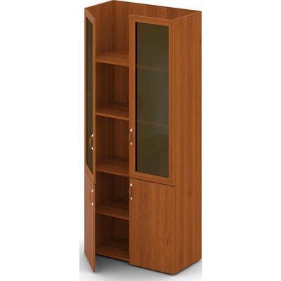 Шкаф высокий Директор без топа со стеклянными дверями (миланский орех светлый)