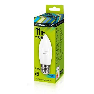 Лампа светодиодная Ergolux LED-C35-11W-E27-4K,Свеча 11Вт,E27,4500K 13622