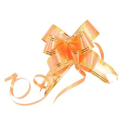 Набор подарочных бантов 30x500 мм оранжевые с золотистыми полосками (10 штук в упаковке)
