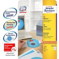 Этикетки для CD/DVD Avery Zweckform L6015-25 белые матовые (внутренний диаметр 41 мм, 50 штук в упаковке)