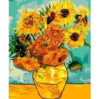 Картина по номерам Цветной Ваза с 12 подсолнухами Ван Гог
