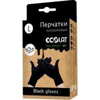 Перчатки одноразовые EcoLat нитриловые неопудренные черные (размер L, 10 штук/5 пар в упаковке)