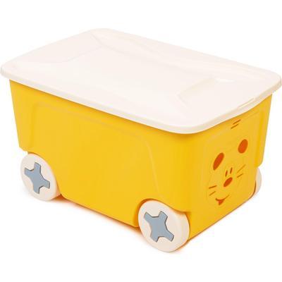 Ящик для игрушек Cool на колесах (желтый, 383х590х330 мм)
