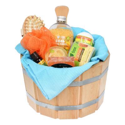 Подарочный набор Банные штучки Тропический релакс из 10 предметов (бурлящие шары, мыло, масло, скраб, мочалка, накидка, массажер, ушат, соль, мыло с люфой)