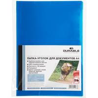 Папка-уголок Durable A4 пластиковая 180 мкм синяя (10 штук в упаковке)