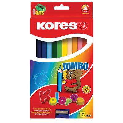 Карандаши цветные Kores Jumbo 12 цветов трехгранные с точилкой