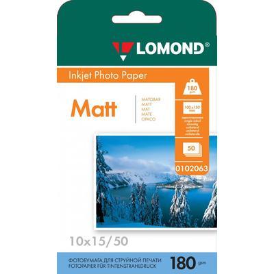 Фотобумага для цветной  струйной печати Lomond односторонняя (матовая, 10x15 см, 180 г/кв.м, 50 листов, артикул производителя 0102063)