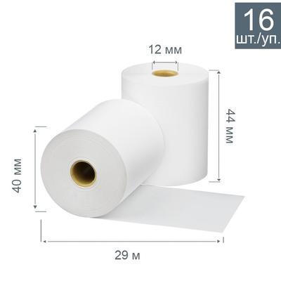 Чековая лента из термобумаги Promega jet 44 мм (диаметр 40 мм, намотка 29 м, втулка 12 мм, 16 штук в упаковке)