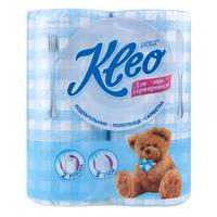 Полотенца бумажные Kleo 3-слойные белые/голубые 2 рулона по 15 метров