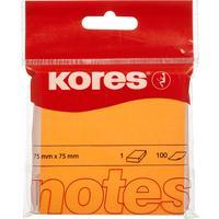 Стикеры Kores 75x75 мм неоновые оранжевые (1 блок, 100 листов)