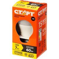 Лампа светодиодная Старт 7Вт E27 шарообразная 2700k теплый белый свет