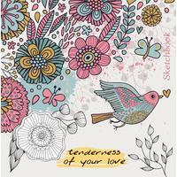 Скетчбук Проф-пресс Птица и цветы 150х150 мм 80 листов