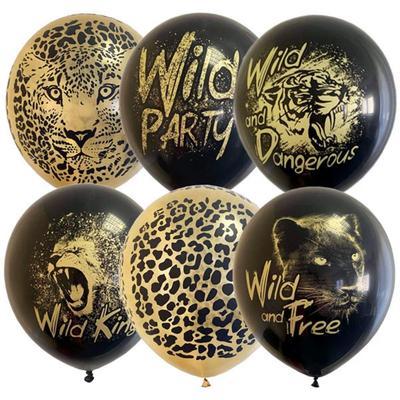 Шары надувные Пати Бум Wild Party black&gold 30 см (25 штук)