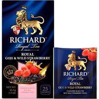 Чай Richard Royal Goji & Wild Strawberry черный с земляникой и  ягодами годжи 25 пакетиков