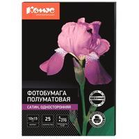 Фотобумага для цветной струйной печати Комус односторонняя (сатин, 10х15 см, 270 г/кв.м, 25 листов, артикул производителя 75859)