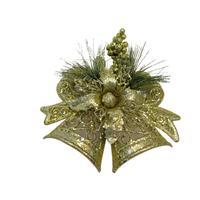 Новогоднее украшение Подвеска колокольчики пластик золотистый (высота  16.5 см)