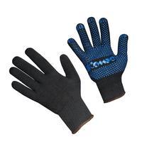 Перчатки рабочие Комус трикотажные с ПВХ Точка 5 нитей 10 класс черные (размер 9, L, 5 пар в упаковке)