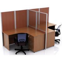 Набор офисных перегородок для двух столов Uno (ширина 1400 мм)