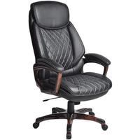Кресло для руководителя Easy Chair 646 TR черное (рециклированная кожа с компаньоном, пластик)