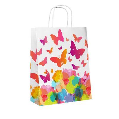 Пакет подарочный из крафт-бумаги Бабочки (32x25x11 см)