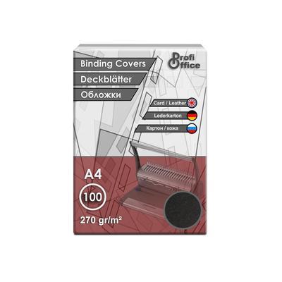 Обложки для переплета картонные ProfiOffice A4 270 г/кв.м черные текстура кожа (100 штук в упаковке)