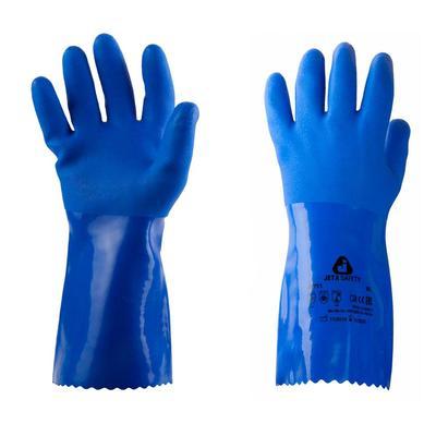 Перчатки КЩС JetaSafety из ПВХ с хлопковой основой синие (размер 9, L, JP711)