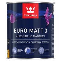 Краска моющаяся Tikkurila Euro Matt 3 A белая глубокоматовая 0,9 л