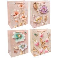 Пакет подарочный ламинированный Omg-gift Нежные цветы с блеском микс (32х26х13 см)