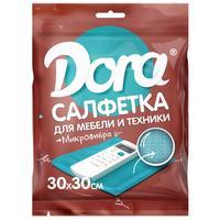 Салфетка хозяйственная Dora для мебели и бытовой техники микрофибра  30х30см голубой
