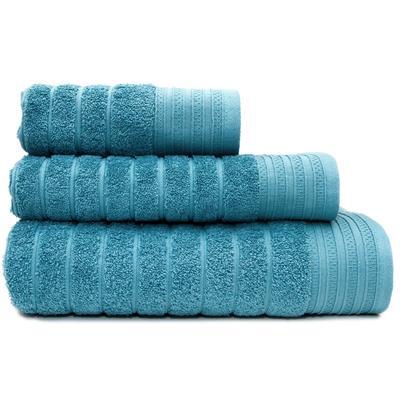Набор махровых полотенец Страйп 30х60 см 1 штука 50х90 см 1 штука 70х130  см 1 штука 500 г/кв.м серо-голубые