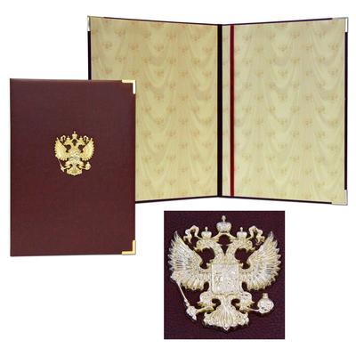 Папка адресная Герб России А4 искуственная кожа бордовая
