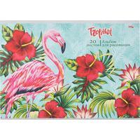 Альбом для рисования Проф-пресс Фламинго с цветами А4 20 листов
