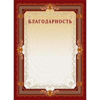 Благодарность А4 230 г/кв.м 10 штук в упаковке (коричневая рамка без герба, А4-15/Б)