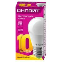Лампа светодиодная ОНЛАЙТ OLL-G45-10-230-2.7K-E27 10Вт Е27 2700К 61968