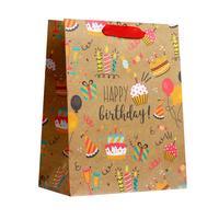 Пакет подарочный из крафт-бумаги Happy birthday MS (23x18x10 см, 6 штук в упаковке)