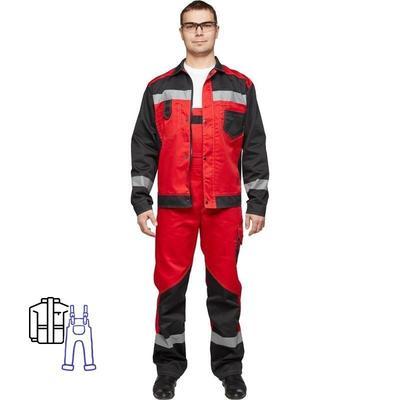 Костюм рабочий летний мужской л21-КПК с СОП красный/черный (размер 56-58, рост 170-176)