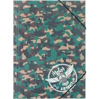 Папка на резинках №1 School Military A4 8 мм пластиковая до 200 листов хаки (толщина обложки 0.4 мм)