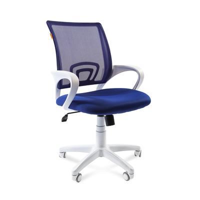 Кресло офисное Chairman 696 синее/белое (ткань/сетка/пластик)