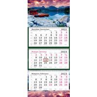 Календарь квартальный трехблочный настенный 2022-2023 год Перевертыш  (305х710 мм)