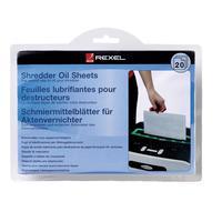 Маслянные салфетки (листы) для уничтожителей документов (шредеров) Rexel (20 штук в упаковке)