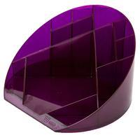 Подставка для канцелярских мелочей Attache Яркий офис 12 отделений прозрачная фиолетовая