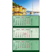 Календарь квартальный трехблочный настенный 2022 год Европа (440х835 мм)