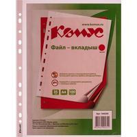 Файл-вкладыш Комус А4 35 мкм красный рифленый 100 штук в упаковке