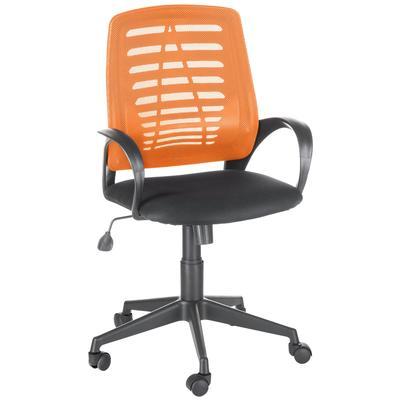 Кресло офисное Ирис черное/оранжевое (ткань/сетка/пластик)