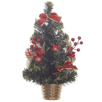 Елка новогодняя настольная 40 см с декором и ягодами