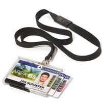 Бейдж Durable горизонтальный 91х60 мм на 3 карточки с черной тесьмой (10 штук в упаковке)
